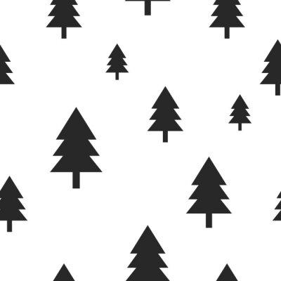 Фотообои Скандинавский дерево черный лес на белом вектор бесшовные узор. Простой и стильный дизайн для текстильной ткани, оберните бумагой, гравюр.