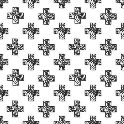 Фотообои Скандинавский минимальный стиль крест шаблон с ажурной чистой текстурой. Черно-белый дизайн ткани печать геометрии.
