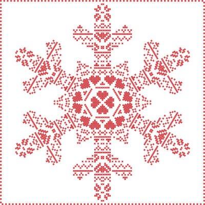 Фотообои Скандинавский Скандинавский крест шить, вязание узор Рождество в снежинкой в форме, с крестом рамы стежка в том числе, снег, сердца, звезды, декоративные элементы в красном на белом фоне