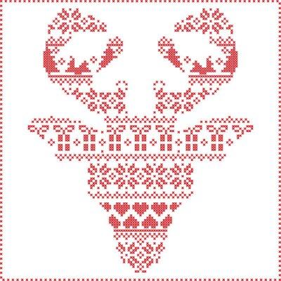 Фотообои Скандинавский Nordic зима шить вязание узор Рождество в оленеводством форме головы лобной включая снежинки, сердца рождественское дерево рождественские подарки, снег, звезды, декоративные украшения 2