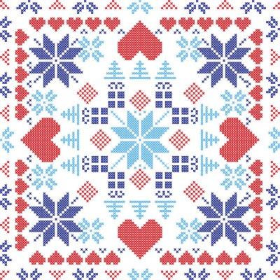 Фотообои Скандинавский стиль Скандинавский зима красный выключатель, вязание бесшовные модели в квадратной форме, включая снежинки, рождественские подарки, рождественские деревья, сердца и декоративные элемент