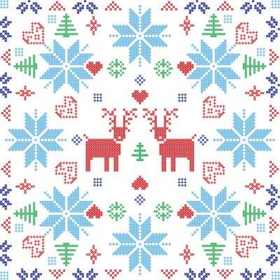 Фотообои Скандинавский стиль Скандинавский зима Стич, вязание бесшовные модели в квадратной форме, включая снежинки, деревья, рождественские снежинки, сердца, оленями и декоративные элементы в красный и голубо