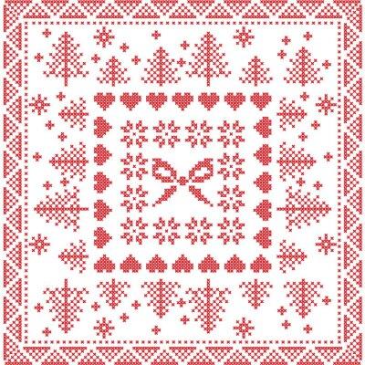 Фотообои Скандинавский стиль Скандинавский зима стежок, вязание бесшовные модели на площади, форма плитки, включая снежинки, лук, елки, рождественские снежинки, сердца, декоративные элементы в красном