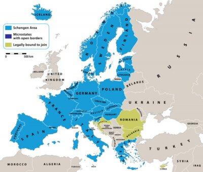 Фотообои Шенгенская зона на политической карте Европы. Все данные находятся в слои для удобного редактирования векторной карте. Фон для вашего инфографики.