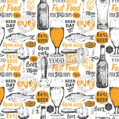 Фотообои Бесшовные фон с множеством пива. Меню Паб. Бутылка и бокал пива в стиле эскиза. Векторная иллюстрация с пивными этикетками.