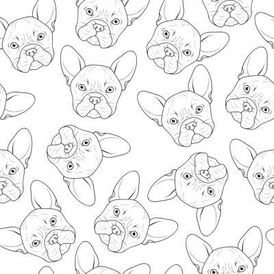 Фотообои Бесшовные фон с милой бульдог эскиз. Реалистичная собаки ручной работы. Окрашивание монохромный с бульдогом. Печать для печати на текстильных изделиях. Порода собак. Бесшовные фон с собакой для печатн