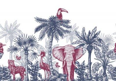 Фотообои Seamless border with graphical tropical tree such as palm, banana and jungle animals. Vector.