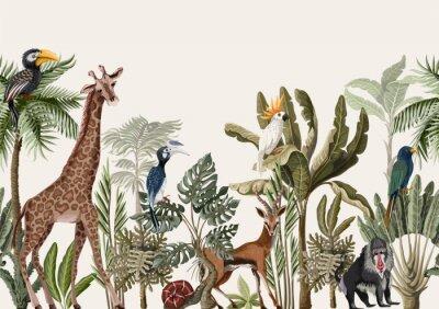 Фотообои Seamless border with tropical tree such as palm, banana and jungle animals. Vector.