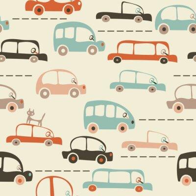 Фотообои бесшовные мультфильм карта автомобилей и дорожного движения