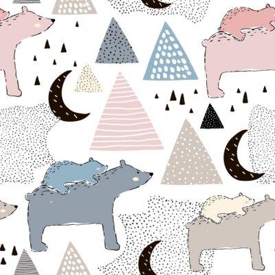 Фотообои Бесшовный детский рисунок с медвежью медвежью мамой и ребенком. Творческий дизайн детей. Идеально подходит для ткани, текстиля, деформации, детского сада.