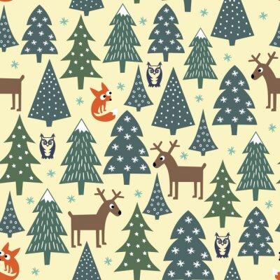 Фотообои Бесшовные Рождественский узор - варьировалась Xmas деревья, дома, лисы, совы и оленями. Счастливый Новый год фон. Векторный дизайн для зимнего отдыха. Детский стиль рисования природа лес иллюстрации.