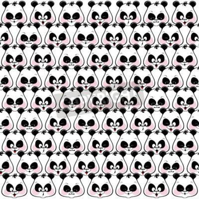 Фотообои Бесшовные цветной фон смешные панды морды. Illustratio
