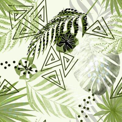Фотообои Бесшовные красочный тропический узор. Зеленые пальмовые листья, цветы на белом фоне.