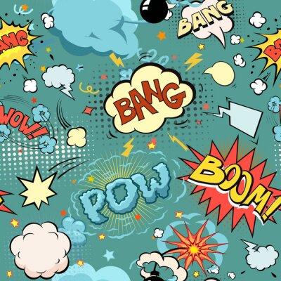 Фотообои Бесшовные комиксов Взрыв, бомбы и взрыва Set. пузыри для речи, различные звуки и стрелы.