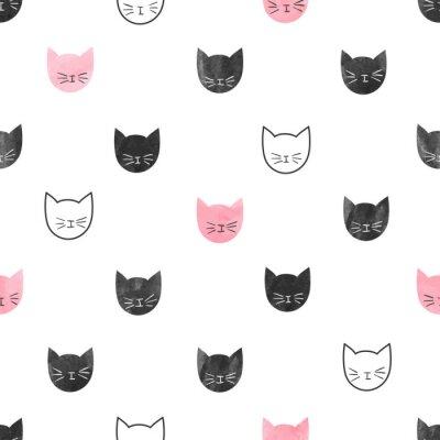 Фотообои Бесшовные милые кошки. Вектор фон с акварелью кошки головами