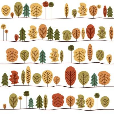 Фотообои Бесшовные декоративные шаблон текстуры с осени деревья. Красочный Бесшовные стилизованные деревья шаблон.