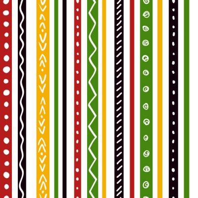 Фотообои Бесшовные этнической картины с зелеными, желтыми, красными полосами цвета. Повторные прямые полосы текстуры фона, вектор.