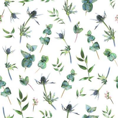 Фотообои Бесшовные цветочный узор с зеленым эвкалиптом, лихорадка и листья ruscus на белом. Весенние растения. Ботанический естественный фон, нарисованный рукой с цветным карандашом