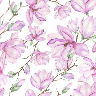 Фотообои Бесшовные цветочный узор с магнолиями с акварели на белом фоне