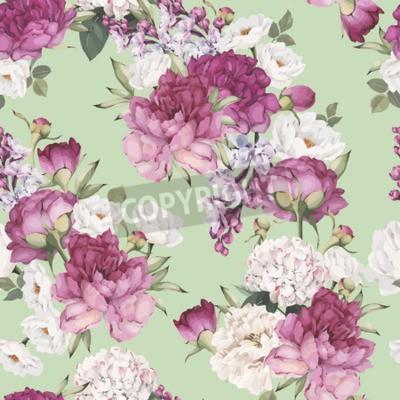 Фотообои Seamless floral pattern with peonies. Vector