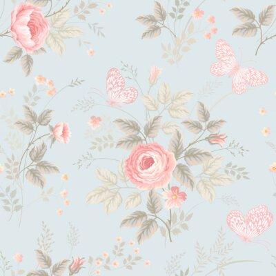 Фотообои бесшовные цветочный узор с розами и бабочками