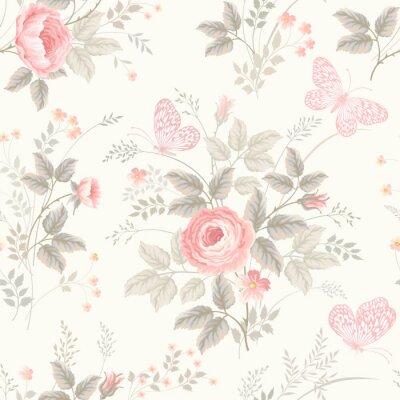 Фотообои бесшовные цветочный узор с розами в пастельных тонах