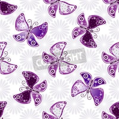 Фотообои Бесшовный цветочный узор с фиолетовыми бабочками и цветами (вектор)