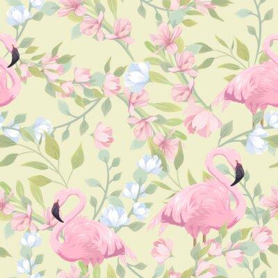 Фотообои Seamless gentle pattern with pink flowers and flamingo