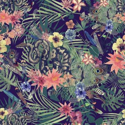Фотообои Бесшовный рисованный акварельный узор с боа, цветами, перьями.