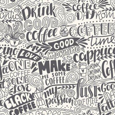 Фотообои Бесшовные буквы кофе с кавычками. Векторная иллюстрация