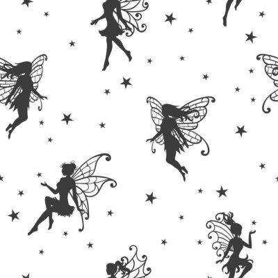 Фотообои Бесшовный магический узор с феями и звездами.