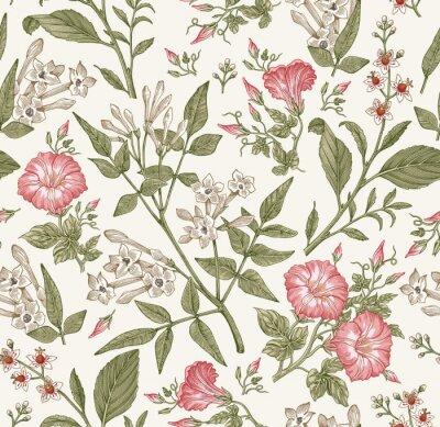 Фотообои Seamless pattern. Beautiful fabric blooming realistic isolated flowers. Vintage background. Set Jasmine Petunia Croton wildflowers. Wallpaper baroque. Drawing engraving. Vector victorian illustration