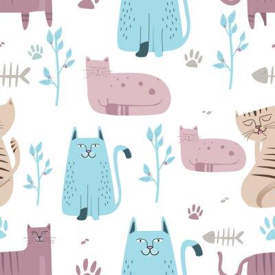 Фотообои Бесшовный фон Симпатичный кот с рисованной мультяшный