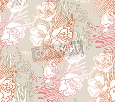 Фотообои Seamless pattern of flowers. Floral illustration. Botanic atrwork.