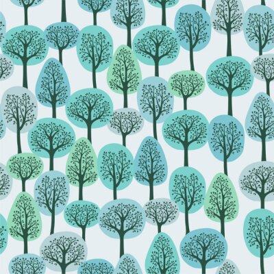 Фотообои бесшовные модели с зимнем лесу