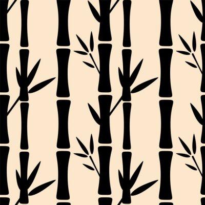 Фотообои Бесшовные с черными силуэтами деревьев бамбука