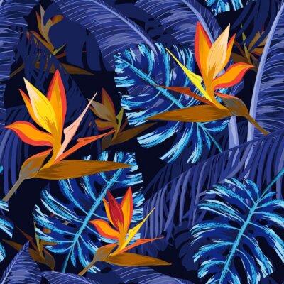 Фотообои Бесшовный фон с синими тропическими цветами