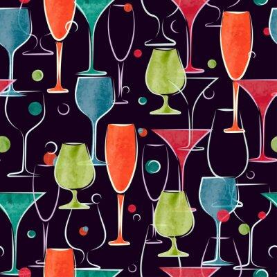 Фотообои Бесшовные с красочными акварельными коктейль очки. Вектор фон.