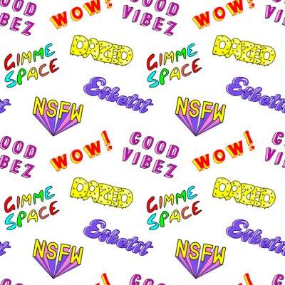 Фотообои Бесшовные картины с красочными фразами комиксов, слова: «Dazed», «Gimme space», «Esketit», «Wow», «NSFW» и т. Д. Модные патчи, значки, булавки, наклейки в стиле 80-х - 90-х годов. Белый фон.
