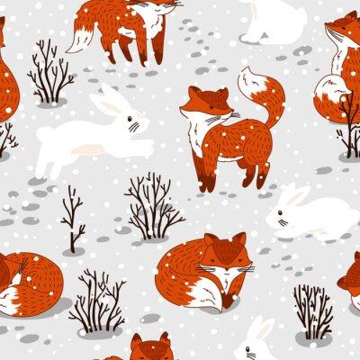 Фотообои Бесшовные шаблон с милой лисы и кролика. Зимняя иллюстрация