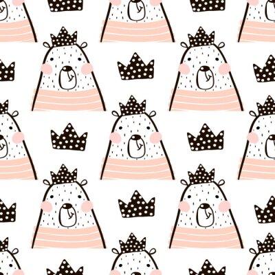 Фотообои Бесшовные шаблон с милой девочкой медведь несет принцесса. Идеально подходит для ткани, текстиля.
