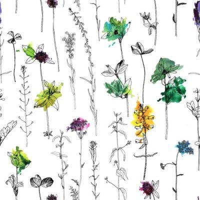 Фотообои Бесшовный фон с рисованием трав и цветов