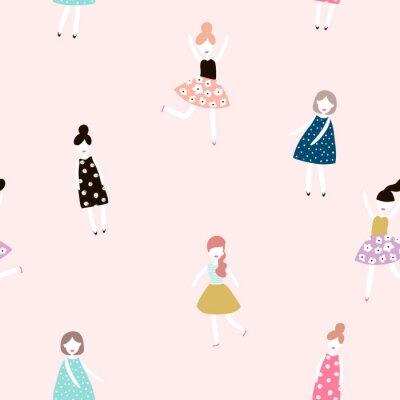 Фотообои Бесшовные шаблон с моды девочек. Векторные иллюстрации.