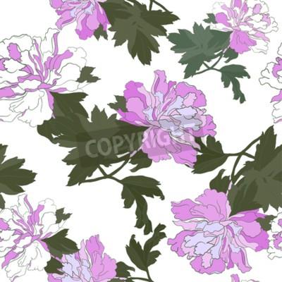 Фотообои Seamless pattern with Flower Peony. Floral Design Vector illustration.