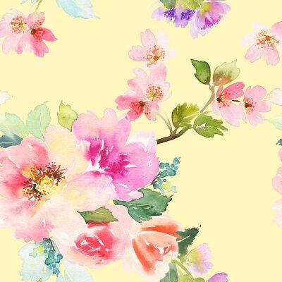 Фотообои Бесшовные с цветами акварель. Нежные цвета.