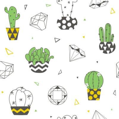 Фотообои Бесшовный фон с забавными кактусами