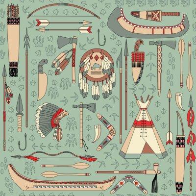 Фотообои бесшовный фон с индейскими атрибутами