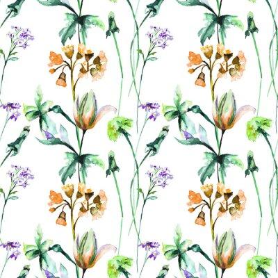 Фотообои Бесшовный фон с оригинальными летними цветами