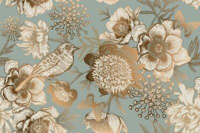 Фотообои Seamless pattern with peonies, bird and butterflies. Vintage.