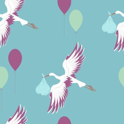 Фотообои Бесшовный фон с аистом и воздушными шарами